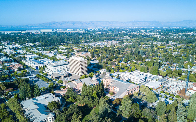 A drone view of downtown Mountain View in California